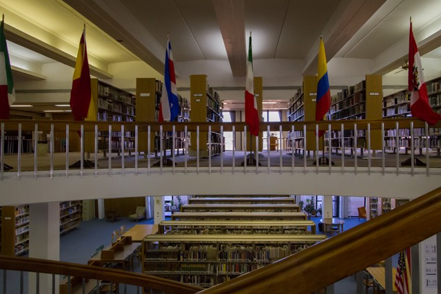 The International Flags hang on the Second Floor of the library.