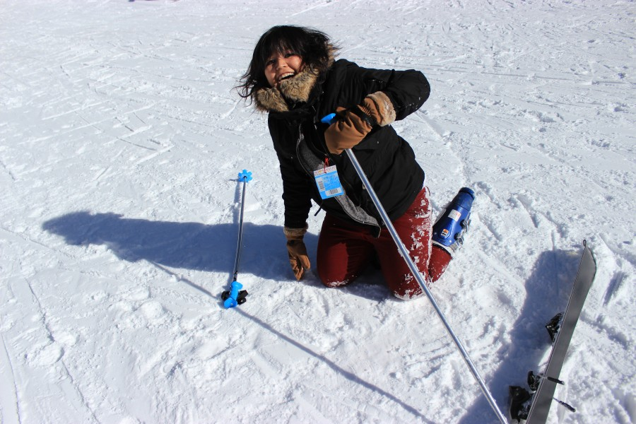 Despite many falls, the first-timers had a lot of fun and finally learned to ski. Pictured: Patricia Baena