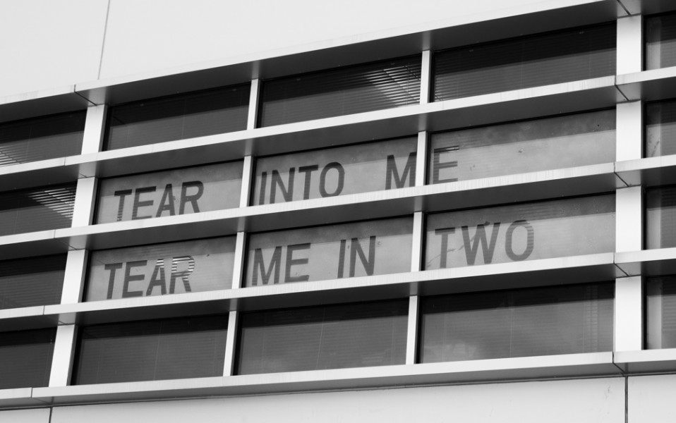 """Tear Into Me, Tear Me in Two"", the final Snow Poem to be displayed (located on the 2nd story floor of Benildus Hall)."