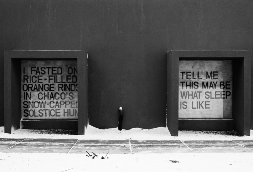 """I Fasted On Rice-Filled Orange Rinds In Chaco's Snow Capped Solstice Hum"", ""Tell Me This May Be What Sleep Is Like"". Snow Poem displayed on the side of the Thaw Fine Arts building."