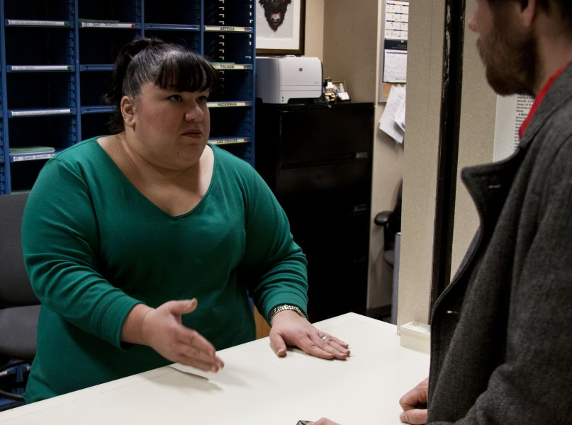 Crystal Branch, supervises more than just mail, she also collates calenders and bills for all the important  people.