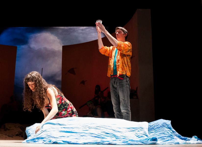 Avery Breyne-Cartwright (Tamara) prepares a body for burial and blessing by Alan Littlehales (William Mee)
