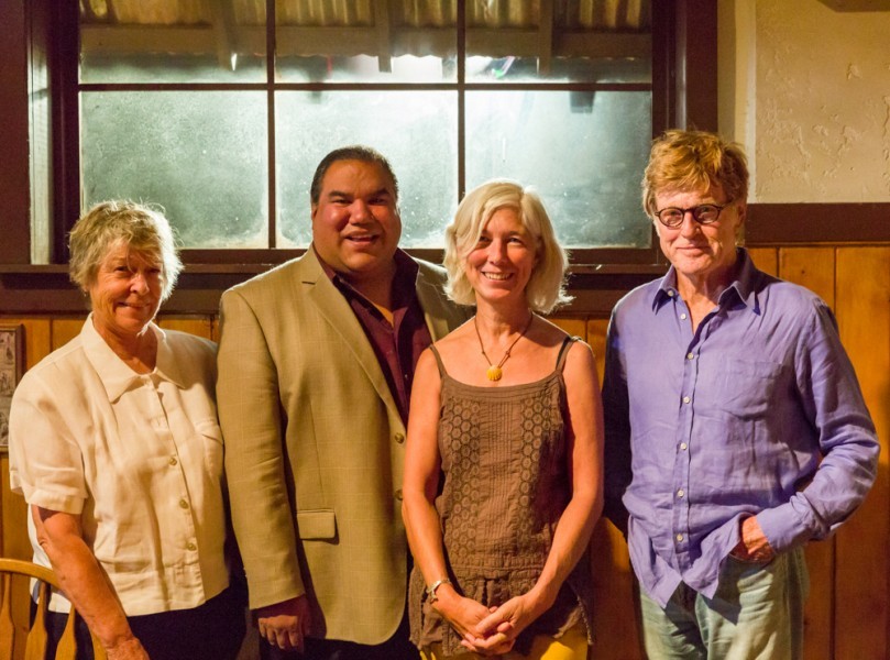 (from left to right) Joan Tewkesbury, Artistic Director of the Story Institute, Chris Eyre, chair of The Film School, Kathleen Broyles, Director of the Milagro Initiative and Robert Redford pose at a luncheon held for recipients of the award on the set of Longmire in Garson Studios.