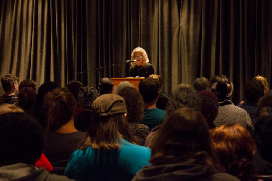 Dwyer held command over her audience in SFUAD's O'Shaughnessy Performance Space. Photo by Shayla Blatchford.