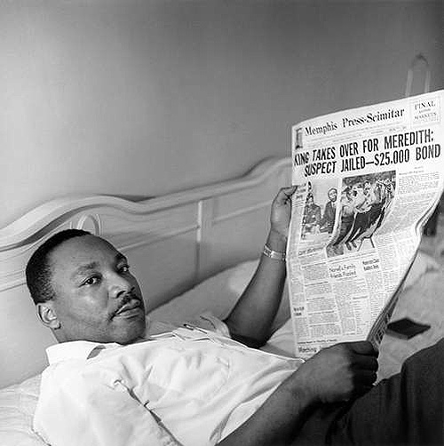Dr. Martin Luther King Jr. resting in the Lorraine Motel following the March Against Fear, Memphis, TN, 1968 Copyright Ernest C. Withers/Withers Trust