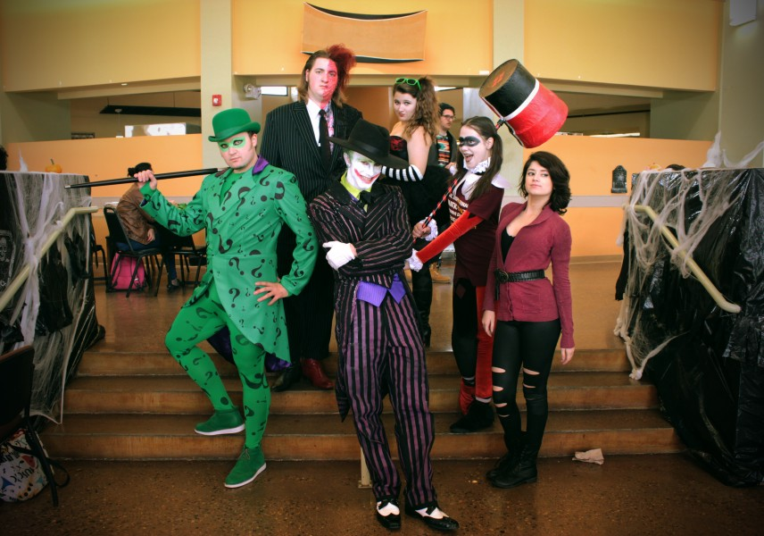 Spencer Vandevier, Rochelle Esquera, Courtney Walsh, Chad Evett, Andrew Stahelin, Rachel Shuford ate at the cafeteria dressed up as Batman's villains.