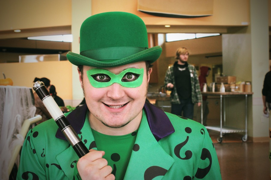 Chad Evett dressed up as The Riddler.