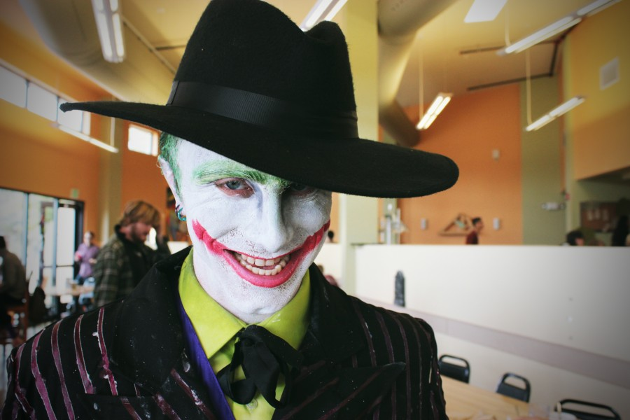 Andrew Stahelin dressed up as Batman's supervillain The Jocker.