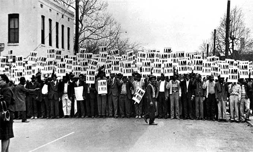 Sanitation Workers assemble in front of Clayborn Temple for a solidarity march, Memphis, TN, March 28, 1968 Copyright Ernest C. Withers/Withers Trust