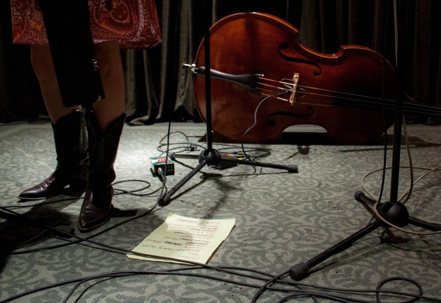Anne Luna's bass rests on the ground after an amazing show at O'Shaughnessy Performance Space.
