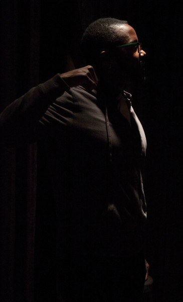 Bellamy performing in SFUAD's O'Shaugnassy Space.  Photo by Tim Kassiotis