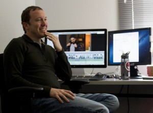 Brett Shapiro, Film School alumni and Creative Director of Cosmic Forces in his Garson Studio office.