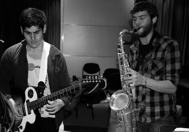 Matt Ruder on guitar and Dan Mench-Thurlow on saxophone