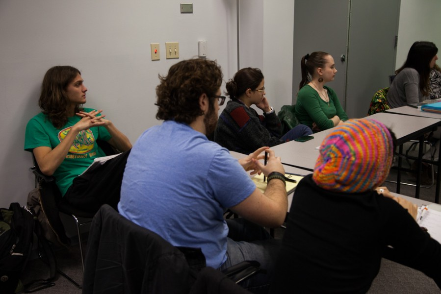 Tyler Sherek(left), Seth Thomas(middle, blue shirt) and Gia Snyder(right, green shirt) were the students selected to direct Studi. Photo by Amanda Tyler