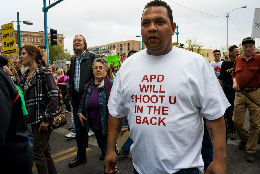 Community members expressed their opposition to the killing of James Boyd. Photo by Luke Montavon