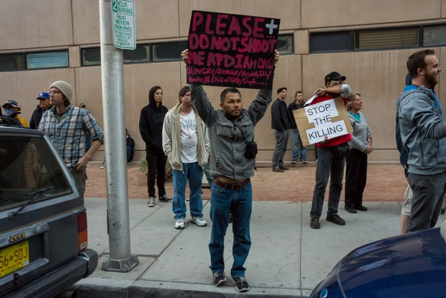 Many homeless people came to the Boyd protest to safely voice their concerns. Photo by Luke Montavon