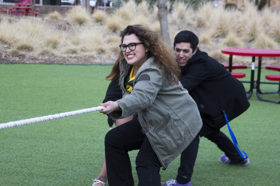 Students participate in tug-of-war