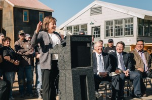 Gov. Susana Martinez was on campus March 5 to announce Manhattan. Film Chair Chris Eyre and SFUAD President Larry Hinz pictured to her right. Photo by Brad Trone