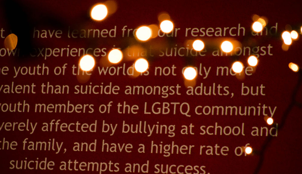 Remembrance of the people who have experienced bullying because of their sexual orientation. Photo by: Rose Abella