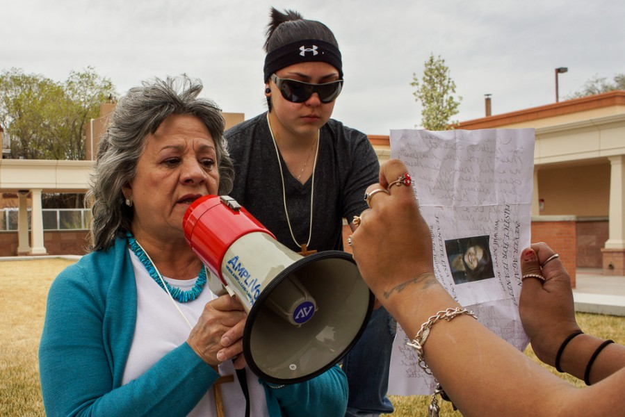 Teresa Anaya (left), spoke out against the actions of NM State Police, responsible for killing her daughter Jeanette. Photo by Luke Montavon