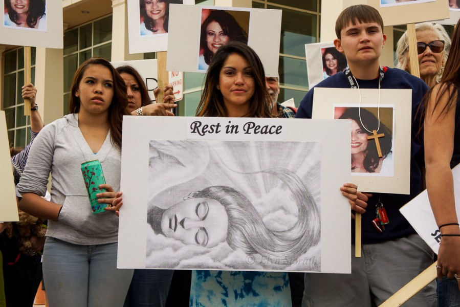 Family and friends of Jeanette Anaya, drew heavy support for the April 11 protest. Photo by Luke Montavon