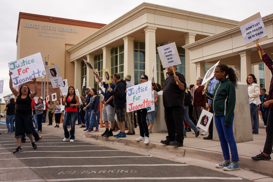 April 11 protest of the killing of Jeanette Anaya drew a crowd of approximately 70 demonstrators. Photo by Luke Montavon