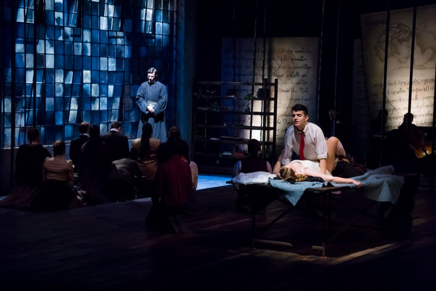 A scene contesting the forces of good and evil in Spring Awakening. Photo by Luke Montavon