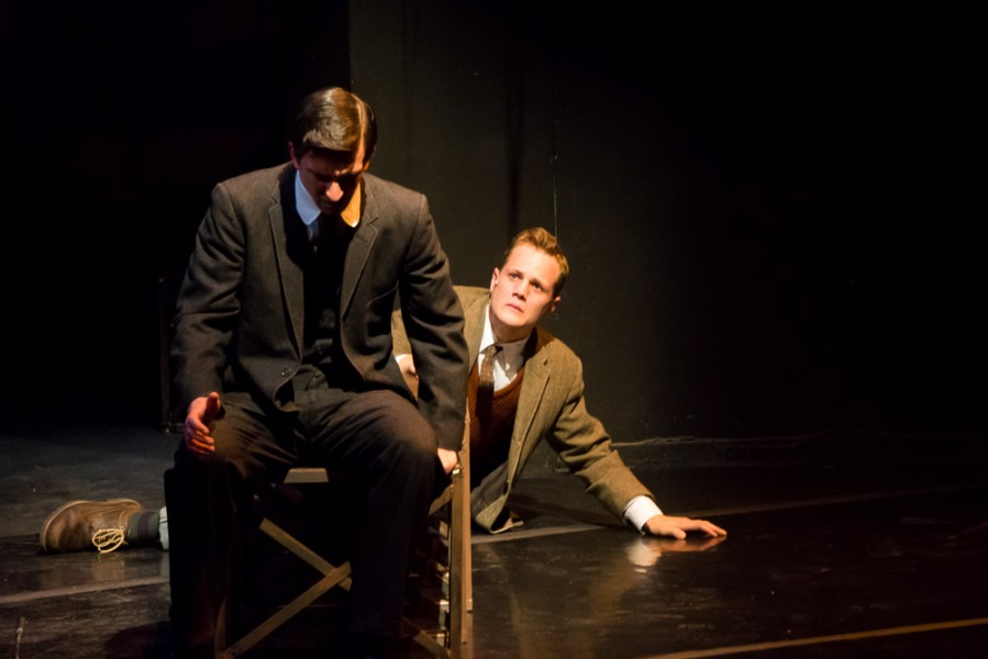 Matthew McMillan (Her Stiefel) & Matt Eldridge (Moritz Stiefel) following a moment of punishment. Photo by Luke Montavon