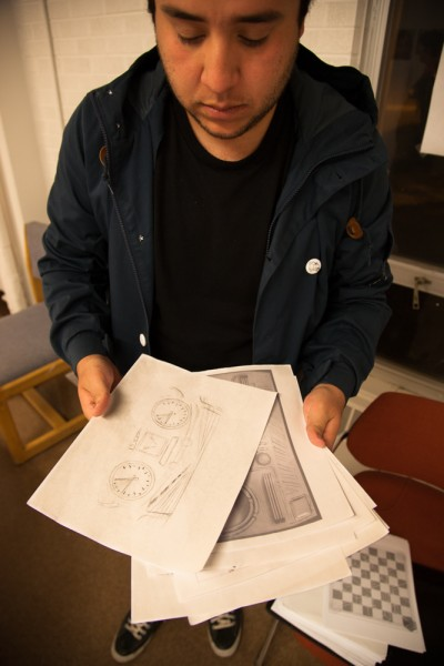 Aldo Vidrio shows off a few early concept sketches.
