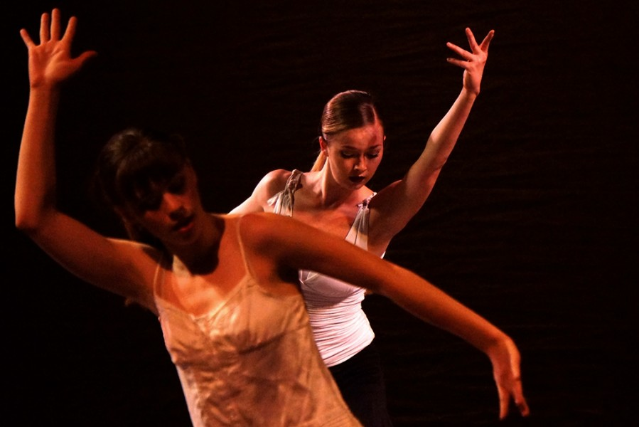 "Marisa Melito, front, & Brittany Kriechbaumer, rear, in ""To be Dreaming"" by Layla Amis in the Rise Above spring 2014 dance concert. Photo by Luke Montavon"