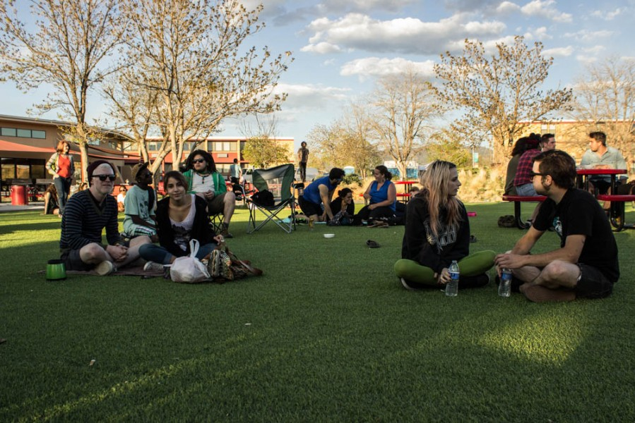 SFUAD students are seen enjoying a wonderful Santa Fe sunset while the Colorado band The Bipedal Approach performs.