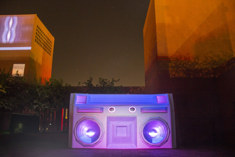"""The Boom"", A 10'x17′ electrified boombox in the Marion Center Courtyard. Photo by Bego Aznar"