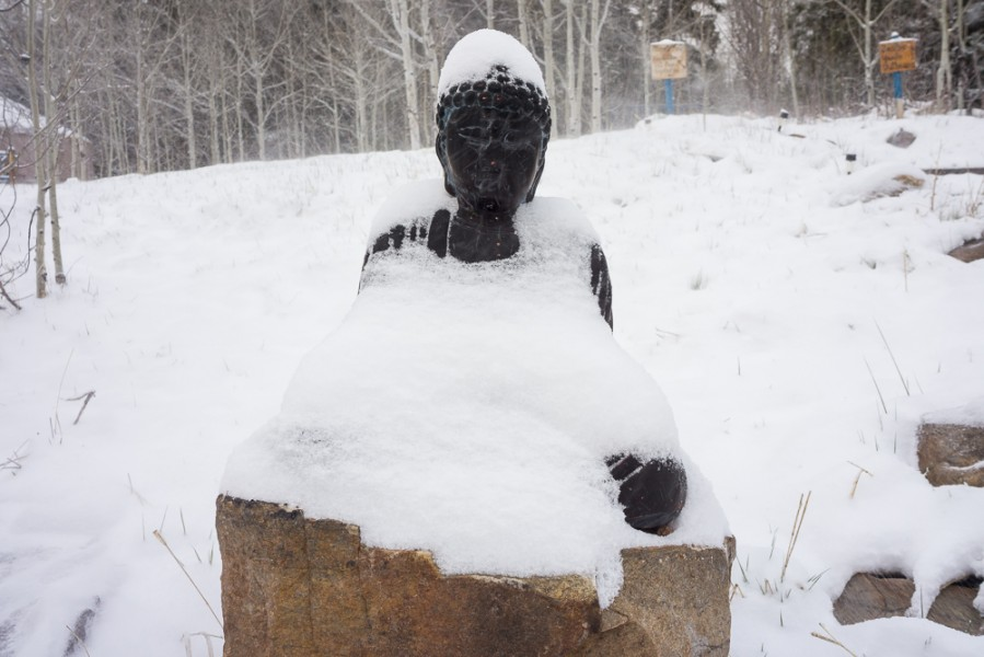 """Snowy Buddha"", during the retreat an unexpected and magical snow transpired. Photo by Luke Montavon"