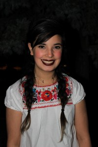Diana Padilla dressed up in traditional Mexican clothing. It is a tradition in Mexico to dress up in these clothes for the 15 de Septiembre.