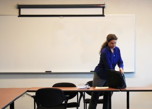 In her class, Lisa Adler guides students into discussions in order to break down the 1960's teacher/student hierarchy.