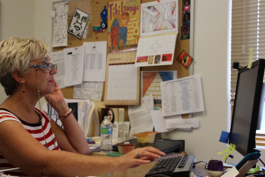 Nunnelly in her office at Mouton Hall. Photo by Nick Beckman