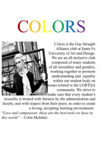 Colin's goal is to provide a safe haven for students and to promote equality and understanding within the student community. Photo courtesy of Colors.