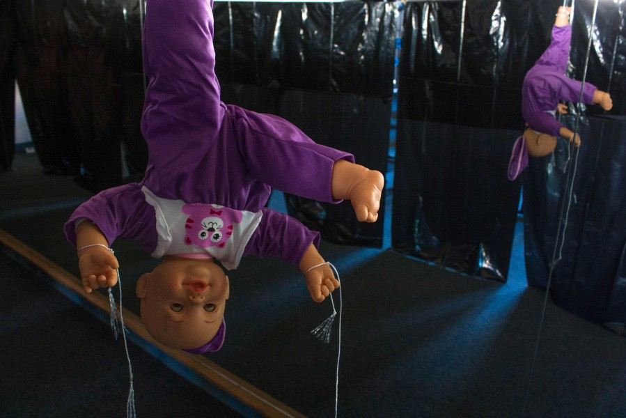 Doll hanging at Discroll Fitness Center, which has been arranged for Halloween. photo by Humberto Loeza