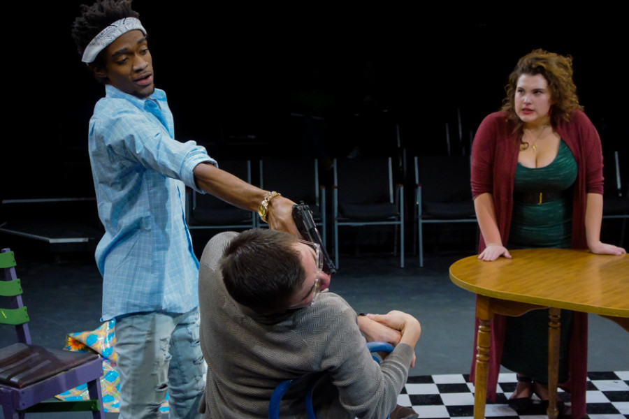 From left Curtis Williams (Flaco), Rodrigo M. Zaragoza (Paul) & Chloe Torblaa (Maggie) in 'Den of Thieves' written by Stephen Adly Guirgis and directed by Jon Jory. Photo by Luke E. Montavon/The Jackalope