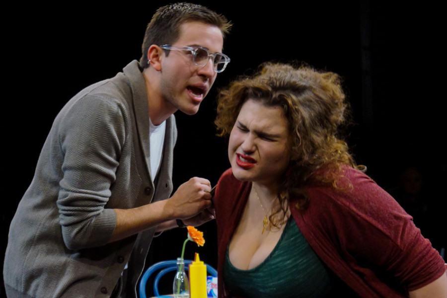From left, Rodrigo M. Zaragoza (Paul) & Chloe Torblaa (Maggie) in 'Den of Thieves' written by Stephen Adly Guirgis and directed by Jon Jory. Photo by Luke E. Montavon/The Jackalope