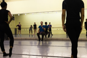 SFUAD dancers listen to corrections from Body Traffic's Andrew Wojtal. Photo by Amanda Tyler