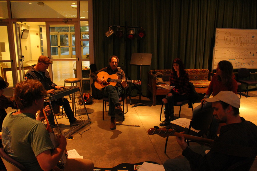"Rehearsals with the CMP Department practicing the music being featured in ""Oasis Motel."" Photo by Zack Eatmon-Ponciano"