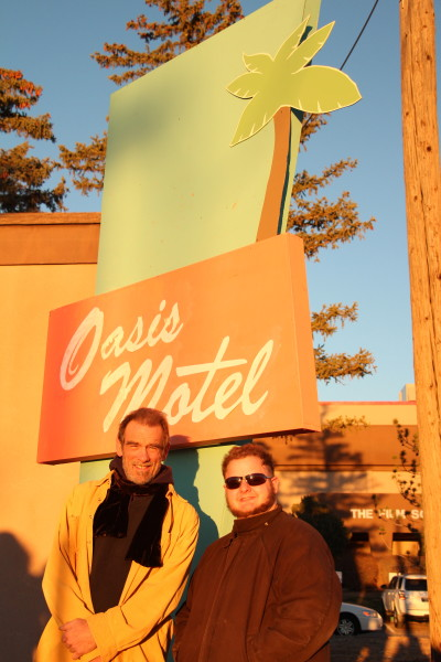 Diehl posing with set designer and Film major Andrew Bever. Photo by Andrew Bever in front of Bever's handy-work. Photo by Zack Eatmon-Ponciano