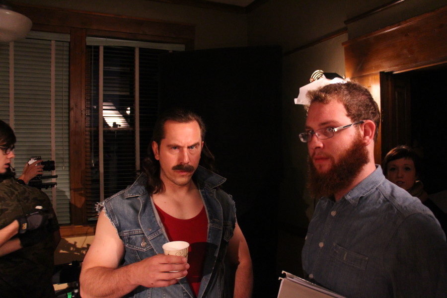"Film School Alumni Matt Page (""Enter the Dojo"") and ""The Disposables"" director, Film major Peter Crowder pierce the lens with intensity and facial hair. Photo by Zack Eatmon-Ponciano"