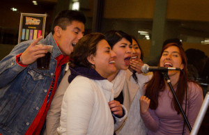 Sophia Franco, Itzel Garcia, Alejandra Teotl, Jessica Blanco, and Jorge Galvon energetically sing La Bamba by Ritchie Valens. Photo by Ashley Costello.