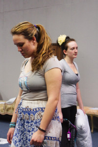 From left, Sarah Spickard and Kinsey Sarian during a rehearsal for 'Bedtime' directed by Julia Rocke as part of the 10 minute play series on February 10, 2015. Photo by Luke E. Montavon/The Jackalope