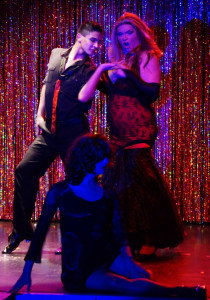 From left, Ernie Olivas, Krishalicous, and Chasity St. Jaymes(front) during the Jewel Box Cabaret's Valentine's Day performance. Photo by Luke E. Montavon, Ernie Olivduring the Jewel Box Cabaret's Valentine's Day performance. Photo by Luke E. Montavon