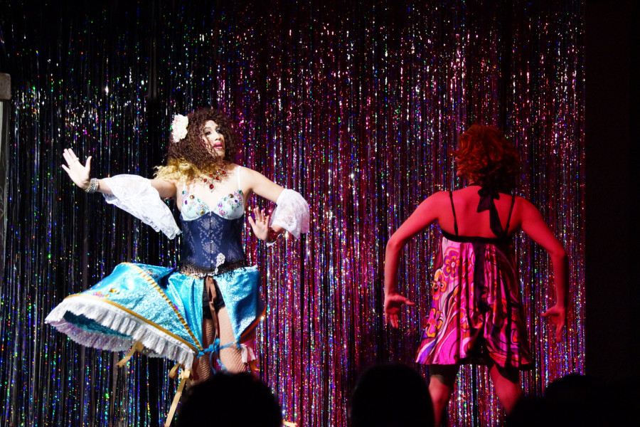 From left, Marie Antoinette Du Barry & Lucy Fur during the Jewel Box Cabaret's Valentine's Day performance. Photo by Luke E. Montavon