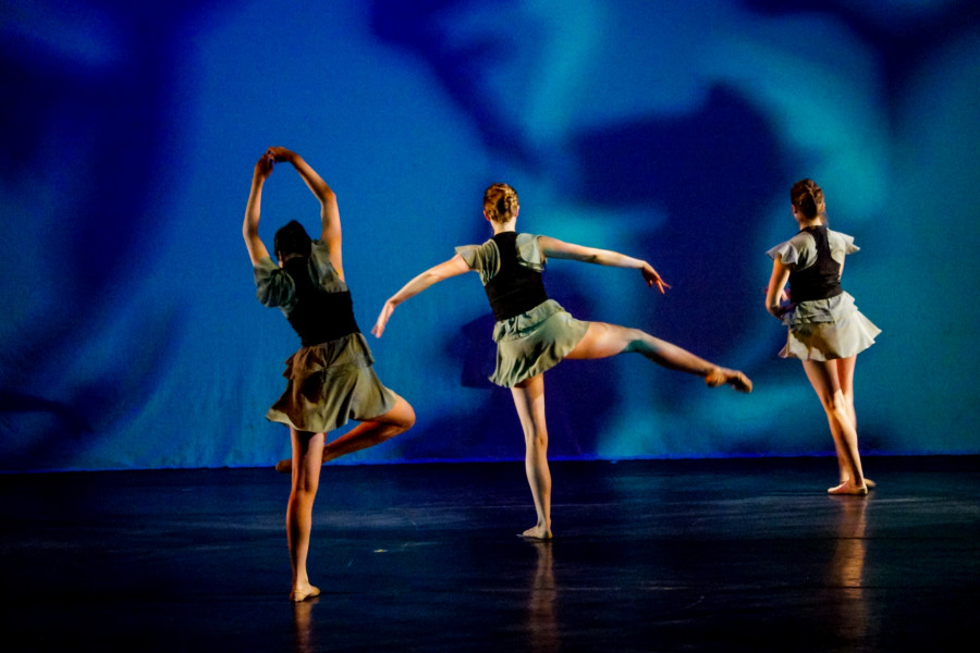 From left, Alex Chavez, Brittany Kriechbaumer, and Victoria Stines in the Spring 2015 Dance Concert at the Armory for the Arts. Photo by Luke E. Montavon/The Jackalope