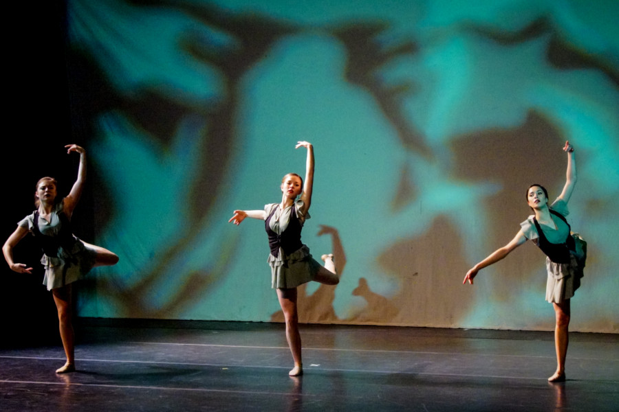 From right, Alex Chavez, Brittany Kriechbaumer, and Victoria Stines in the Spring 2015 Dance Concert at the Armory for the Arts. Photo by Luke E. Montavon/The Jackalope
